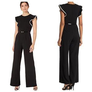 Calvin Klein Tipped Ruffle Sleeve Jumpsuit Black
